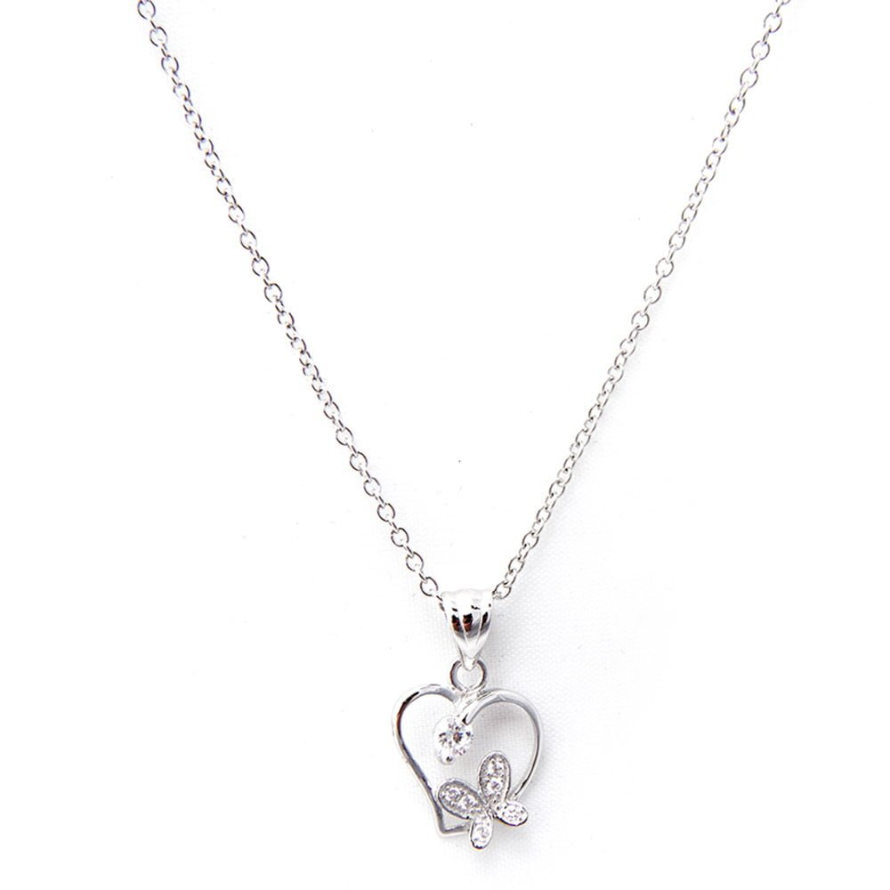 Heart with Butterfly Necklace