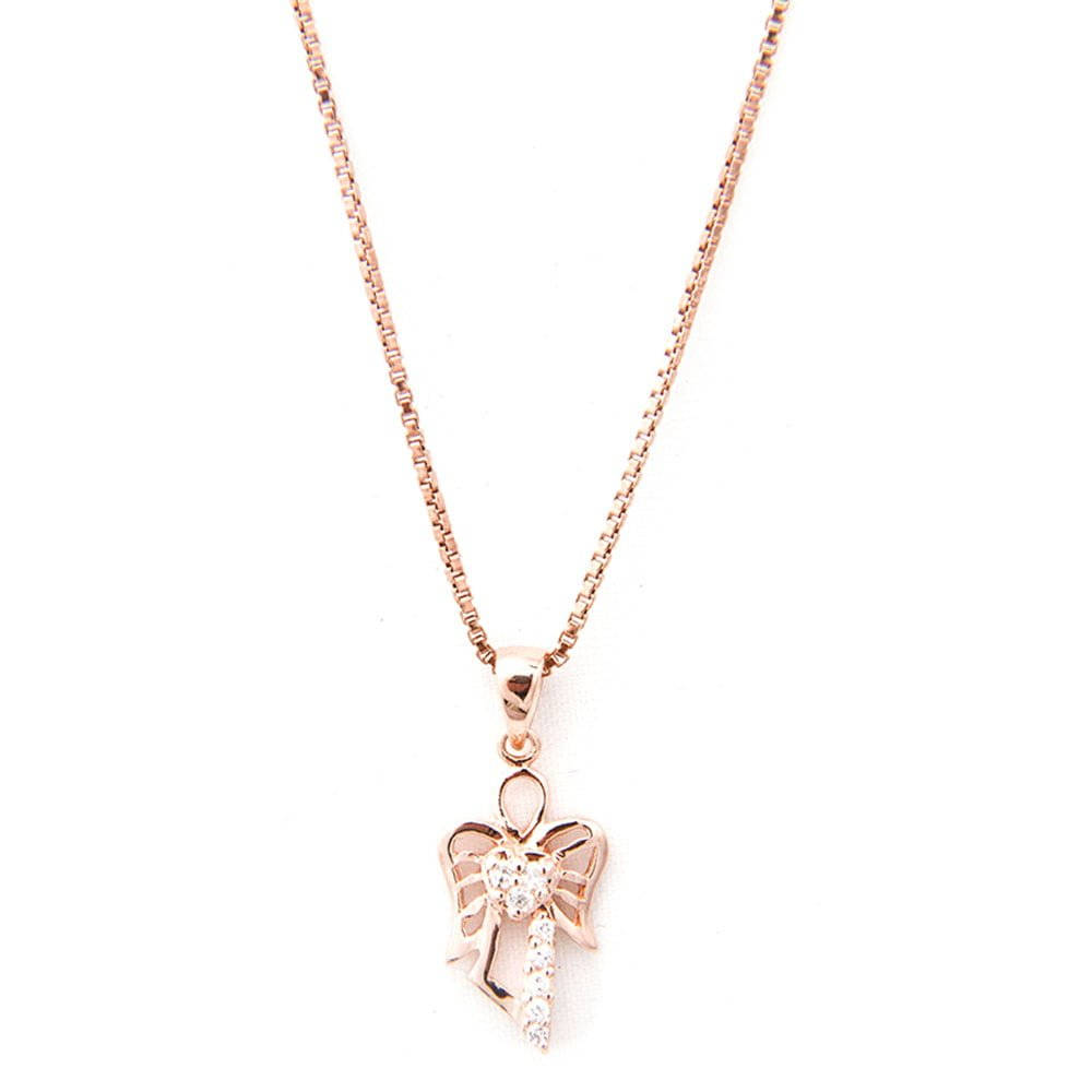 Rose gold angel charm necklace believe bands rose gold angel charm necklace aloadofball Choice Image