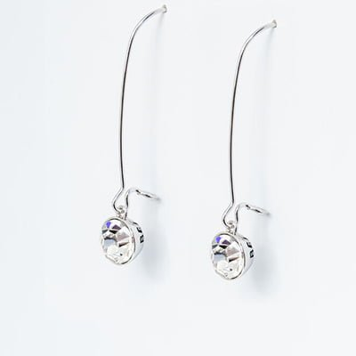 459412978 Earrings Sterling Silver Swarovski Crystal Drop Arlizi 1594. Clear  Swarovski Crystal Drop Earrings Believe Bands